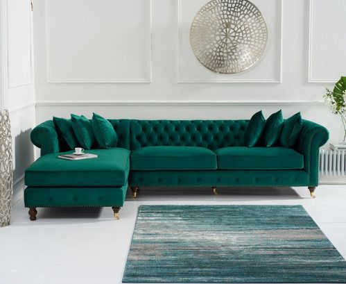 Green velvet chaise corner sofa - Left facing