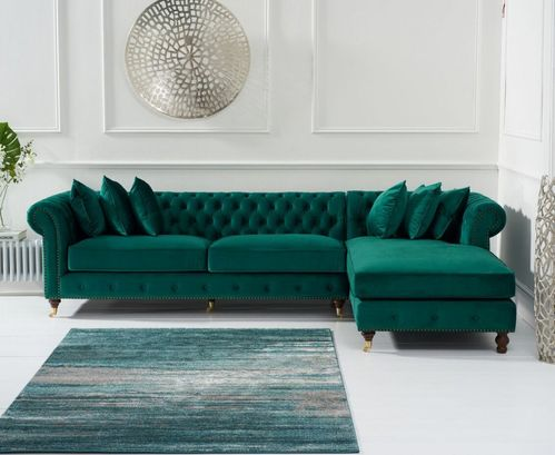 Green velvet chaise corner sofa - Right facing