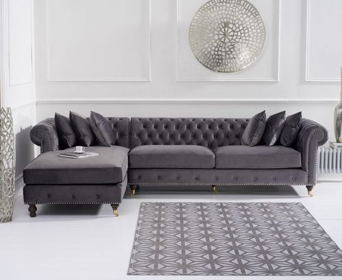 Grey velvet chaise corner sofa - Left facing