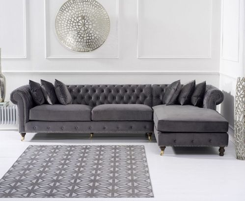 Grey velvet chaise corner sofa - Right facing