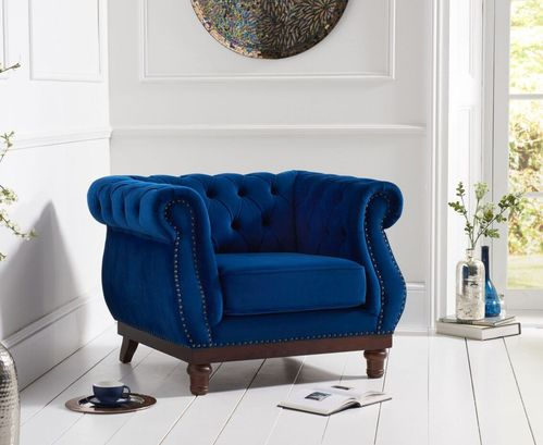 Stylish Blue plush velvet fabric armchair