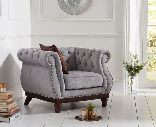Stylish light grey plush velvet fabric armchair