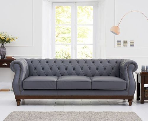 Stylish grey leather 3 seater sofa