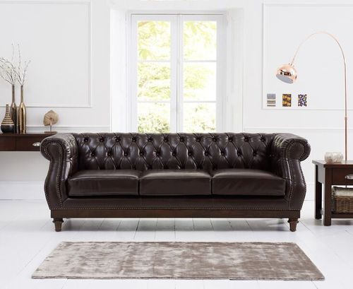 Stylish brown leather 3 seater sofa