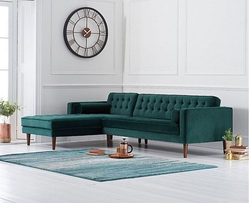 Green velvet corner sofa with button design - Left facing