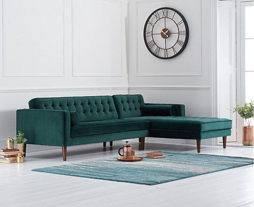 Green velvet corner sofa with button design - Right facing