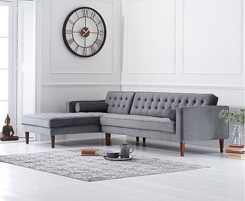 Grey velvet corner sofa with button design - Left facing