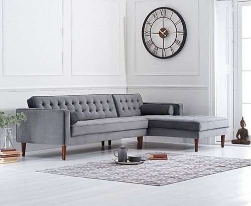 Grey velvet corner sofa with button design - Right facing