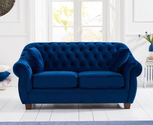 Chesterfield Blue Plush Velvet 2 Seater Sofa