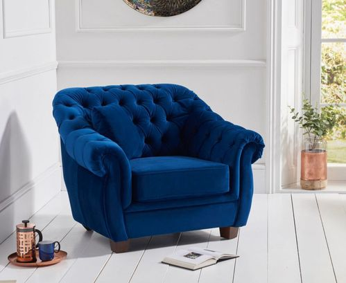 Chesterfield Blue Plush Velvet Armchair