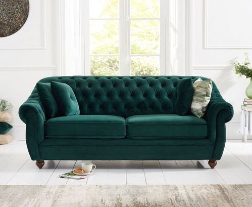 Chesterfield Green Plush Velvet 3 Seater Sofa