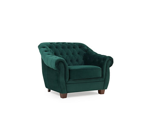 Chesterfield Green Plush Velvet Armchair