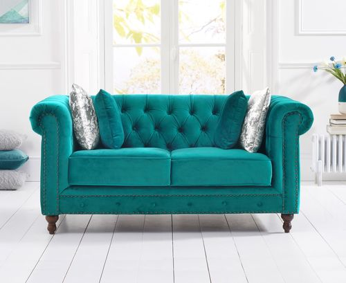 Stylish teal velvet 2 seater sofa with stud detail