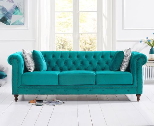 Stylish teal velvet 3 seater sofa with stud detail