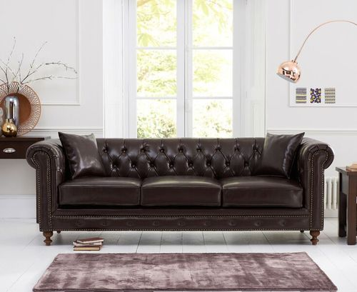 Brown leather 3 seater sofa with metal studding