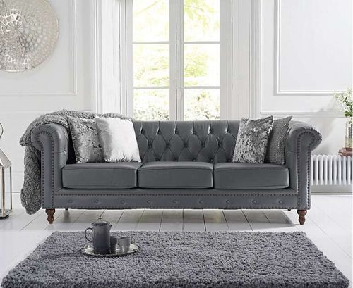 Grey leather 3 seater sofa with metal studding