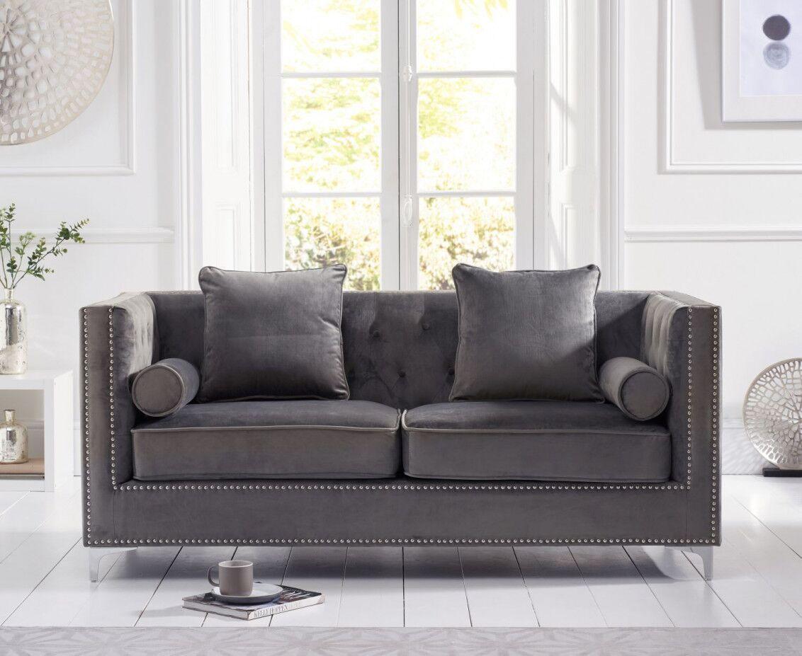 Classic Grey 3 Seater Velvet Sofa Homegenies