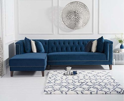 277cm blue velvet corner chaise sofa - left facing
