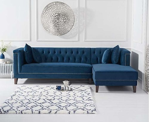 277cm blue velvet corner chaise sofa - right facing