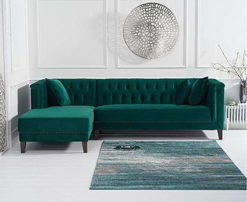 277cm green velvet corner chaise sofa - left facing