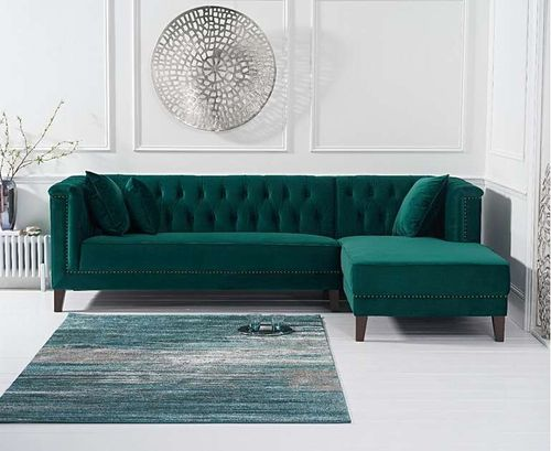 277cm green velvet corner chaise sofa - right facing