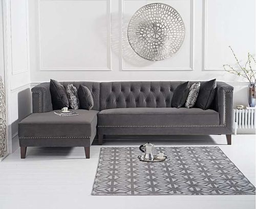 277cm grey velvet corner chaise sofa - left facing