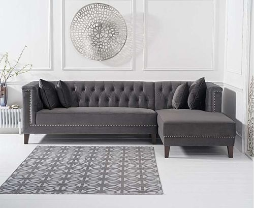 277cm grey velvet corner chaise sofa - right facing