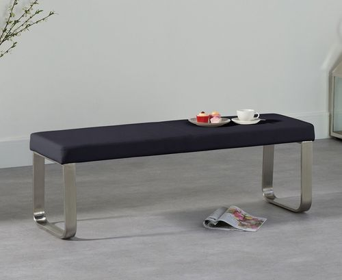 Medium black faux leather dining table bench