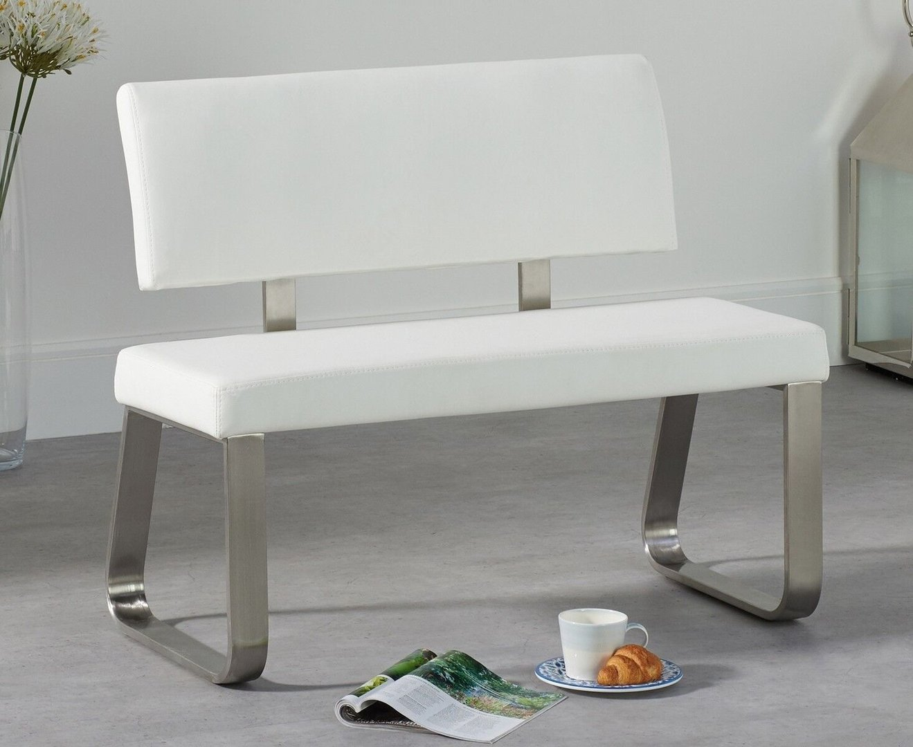 Small White Faux Leather Dining Table Backed Bench Homegenies