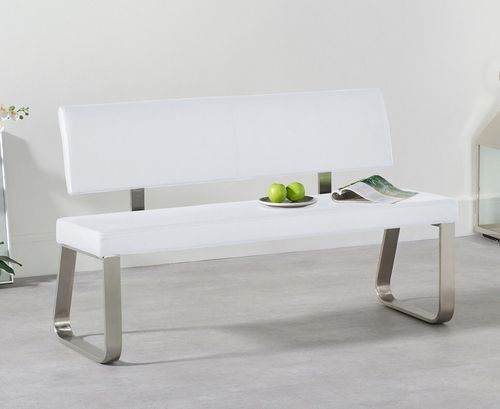 Medium white faux leather dining table backed bench