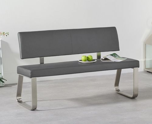 Medium grey faux leather dining table backed bench
