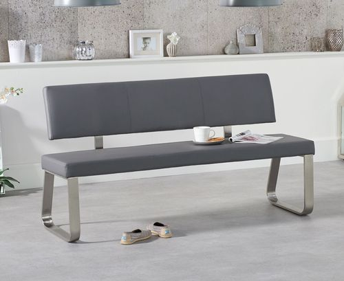 Large grey faux leather dining table backed bench
