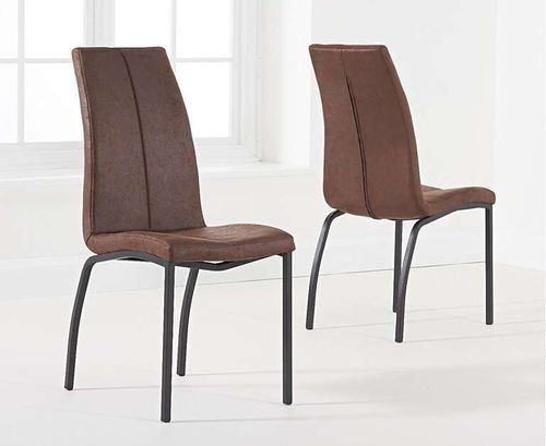 Brown fabric chairs with black metal legs