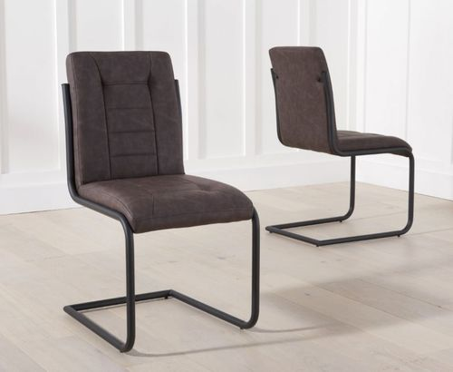 Industrial style brown faux leather dining chairs
