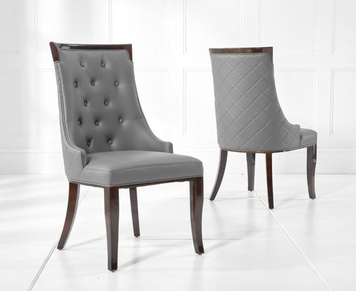 Regal grey faux leather dining chairs