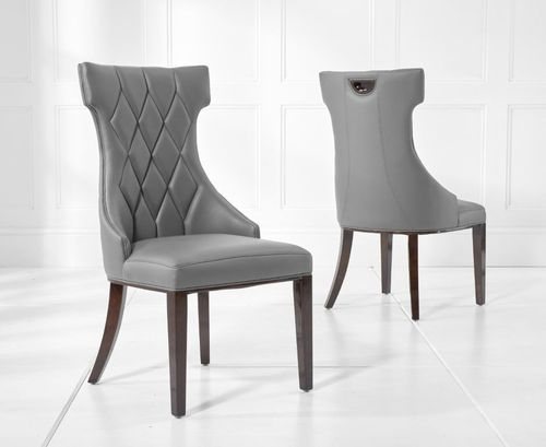 Grey faux leather dining chairs with diamond pattern