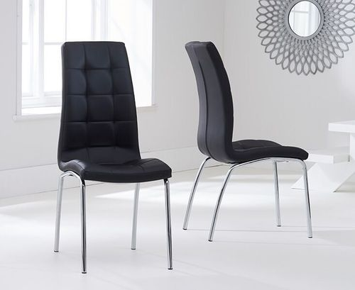 Modern black faux leather dining chairs - Pair