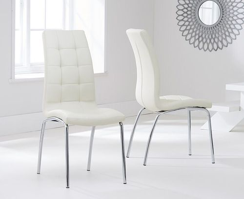 Modern cream faux leather dining chairs - Pair