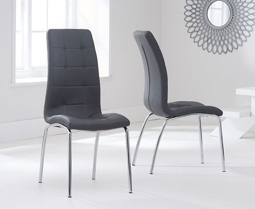 Modern grey faux leather dining chairs - Pair
