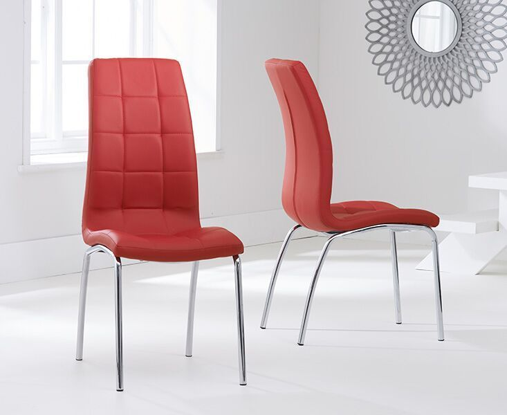 Modern Red Faux Leather Dining Chairs Pair Homegenies