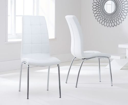 Modern white faux leather dining chairs - Pair