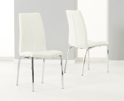 Sleek cream faux leather dining chairs - Pair
