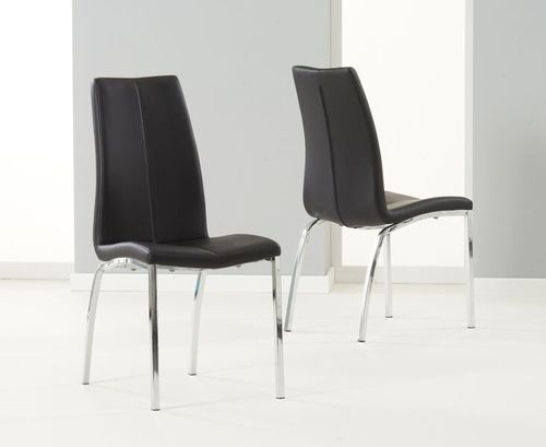 Sleek black faux leather dining chairs - Pair