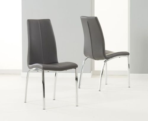 Sleek grey faux leather dining chairs - Pair