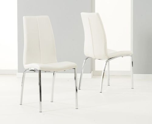 Sleek white / ivory faux leather dining chairs - Pair