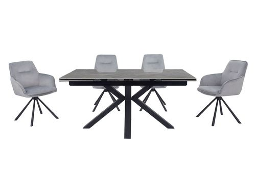 Grey ceramic glass dining table and 6 velvet chars