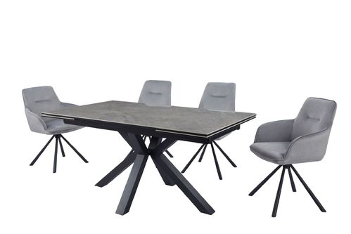 Grey ceramic glass dining table and 8 velvet chars