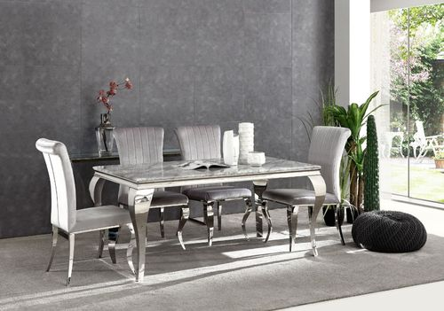 Louis Grey marble dining table and 6 velvet chairs