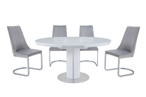 White glass high gloss dining table and 6 grey velvet chairs