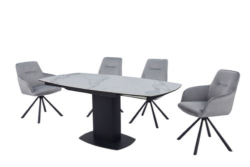 Swivel extending white ceramic glass dining table and 6 grey velvet chairs